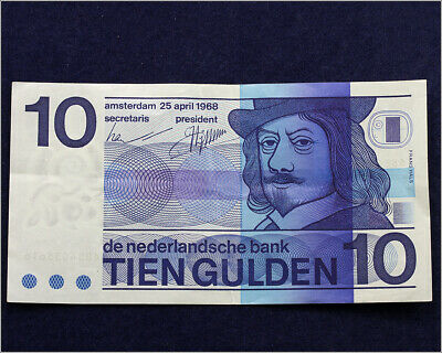 Netherlands 10 Gulden 1968 - ~XF Condition Circulated Banknote P-91a Prefix 6884
