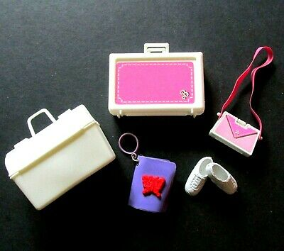 Lot 5 Barbie Accessories Pink Suitcase and Purse Doctor Bag Notebook Shoes VTG