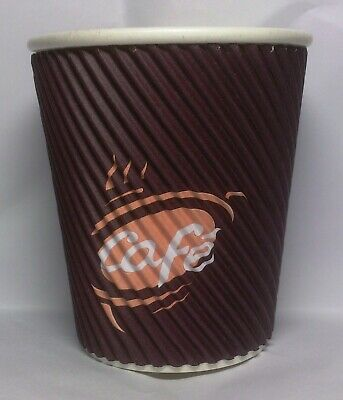 Box of 500 x  8oz Triple Wall Takeaway Coffee Cups Disposable Brown Cafe Printed