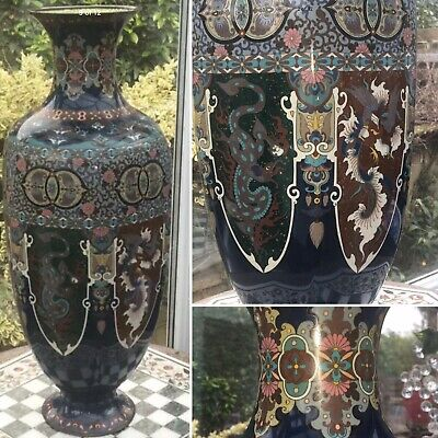 "Rare 24"" Oriental Antique JAPANESE MEIJI BRONZE CLOISONNE DRAGON HOHO BIRD VASE"