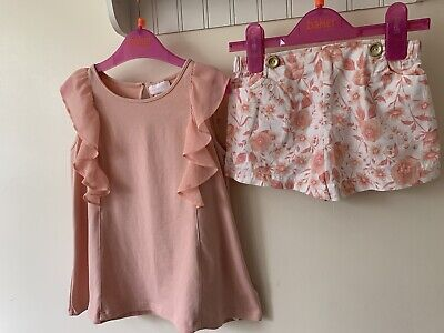 Girls Spanish Outfit Age 4-5 Beautiful Coral White Floral