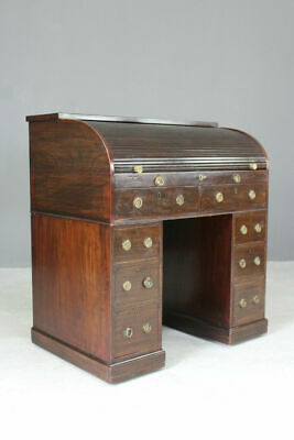 Antique George III Georgian Mahogany Small Tambour Roll Top Writing Desk