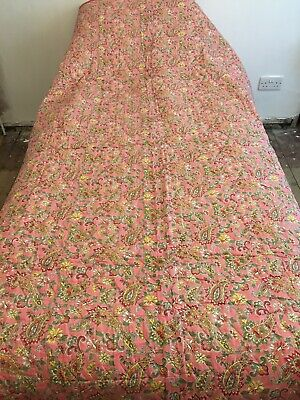 NEW Unused Vintage 1940s paisley Comfy Quilt bedspread bedcover reversible pink