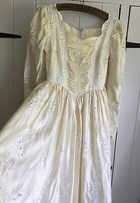 Vintage  Boho Victorian Style Embroidered Wedding Dress  S