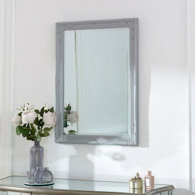 Grey wall mounted mirror ornate vintage French shabby chic home decor display