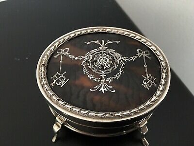 Antique William Comyns Edwardian Sterling Silver And Tortoise Shell Ring Box