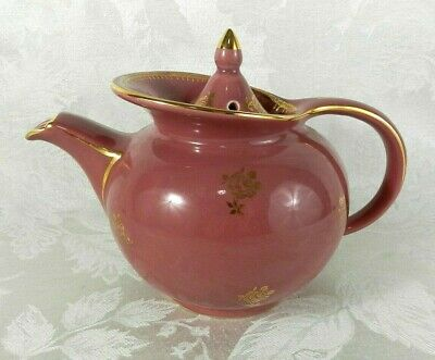 Vintage Hall Windshield Teapot Mauve Rose Pink Gold Floral Flower 0694 6 Cup