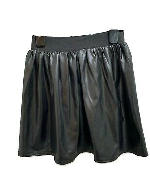 NEW LOOK Generation Skirt Girls Black Skater Leather Look Size S/M Elastic Waist