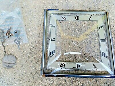 "Vintage Clock Bezel Square Door Convex Glass & Chrome 7"" - Hands / fittings"
