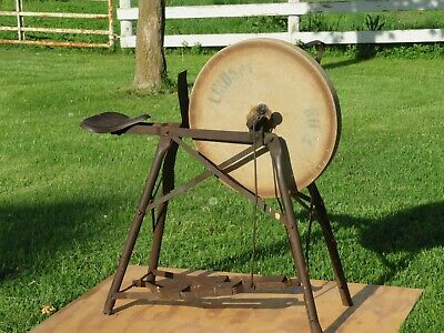 Antique Farm Tool Primitive Sharpening Stone Grinding Wheel Pedal Operated Seat
