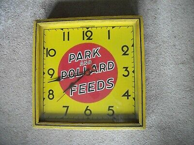 EARLY 1940's PARK and POLLARD FEEDS ADVERTISING CLOCK ART DECO-WORKS-EXCELLENT