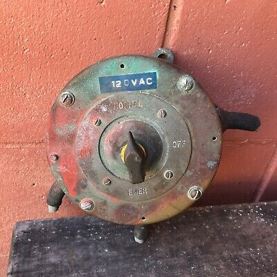 Vintage Maritime Minesweeper US Navy Ship 1950 Salvage Brass Electric Switch