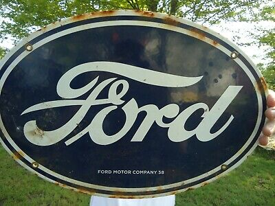 Lg Old 1958 Ford Motor Company Porcelain Enamel Advertising Sign Cars & Trucks