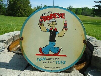 Old Vintage Dated 1949 Drink Popeye Porcelain Enamel Sign Soda Advertising