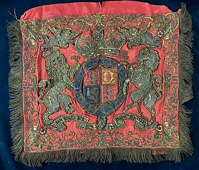 Antique Victorian Silver Bullion Work Embroidery On Silk Royal Coat Of Arms