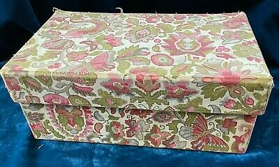 Antique / Vintage Old Linen Print Fabric Covered Lidded Box, 26 X 16 X 11 Cm