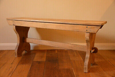 Antique Old Rustic Pine Chapel / Church Bench / Stool / Pew