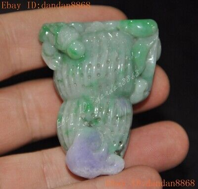 China Natural Emerald Green Jade Jadeite carved animal peanut Ruyi Dragon statue