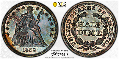 1859 PR63 Seated Liberty Half Dime H10c Proof, PCGS Graded PF63, Deeply Toned