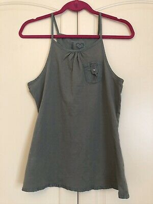 Girls Next Khaki Green Vest Top Pocket Frill Edge Size 14 Years