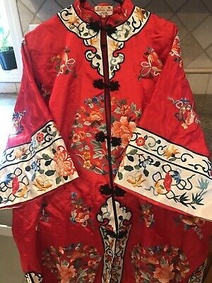 Vintage Embroidered Chinese Floral Dress Robe Kimono GOLDEN BEE Red Small XL