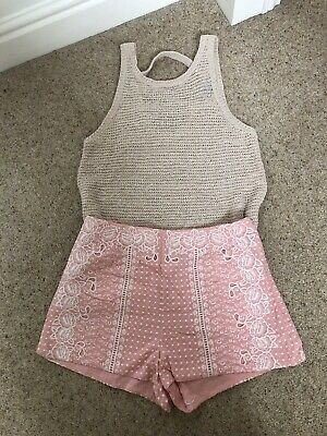 Girls Ladies Pink Shorts And Top Size 8 H&m Newlook