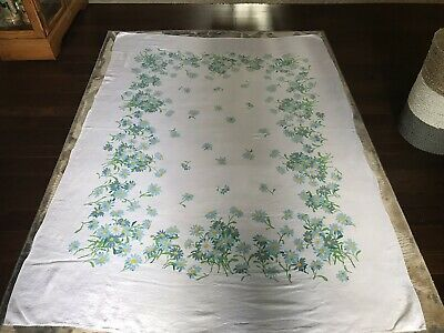 "Vntg Oblong Luther Travis Linen Tablecloth Blue Daisy 76"" x 55"""