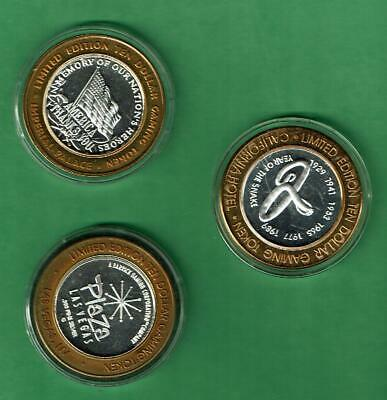 lot of 3  .999 Fine Silver $10 Casino Token