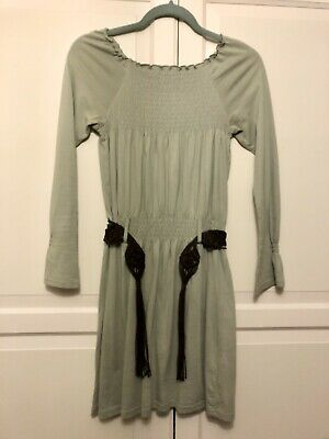 Girls Next Khaki Green Shirred Tunic Long Top Brown Crochet Belt 12 Years