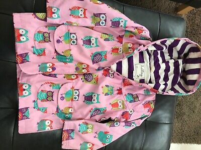 HATLEY girls excellent condition pink owl raincoat age 5 years