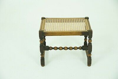 Antique Foot Stool, Vintage Beechwood Caned Top Bench, Scotland 1930, B986