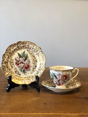 Lily Pattern Bone China Teacup Trio