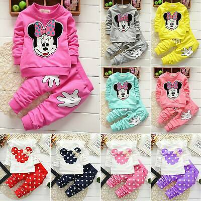 Kids Baby Girls Tracksuit Minnie Mouse Pullover Sweatshirt Top Pants Suit Outfit
