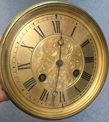 Antique Clock Large Brass Dial Movement Hand Engraved Dial Threadneedle St