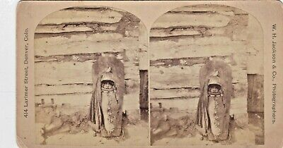 Original Antique Native American Stereoview Photo- Ute Papoose by W.H. Jackson