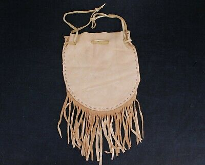Vintage Native Canadian Deer Doe Skin Pouch/Satchel With Tassles