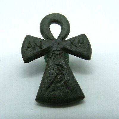 Roman Egyptian Ancient Artifact Bronze Egyptian An Kh Symbol Cross With Bird