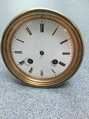 Antique French Japy Freres Dead Beat Clock Movement Enamel Dial  (P)