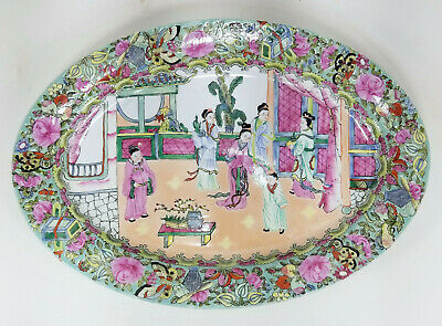 Antique Style Vintage 20th Century Chinese Rose Medallion Style Tray Platter