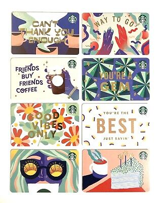 Starbucks 2020 Spring 8 Gift Card Set ☕ 🕶️ 🌼Mag Strip Recycled Paper Summer