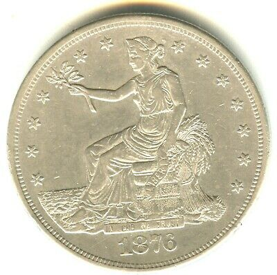 1876 CC Trade Dollar AU In Grade Scarce This Nice. Carson City Mint Issue