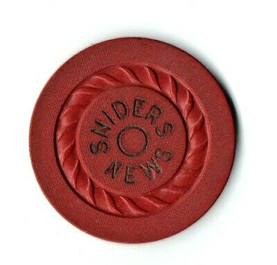 Sniders News  Gambling Chip -  C 1948 -  $1.00 Chip -  Jeffersonville, Indiana