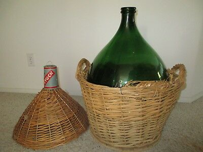 Vintage Large Green Glass Demijohn in Wicker Basket