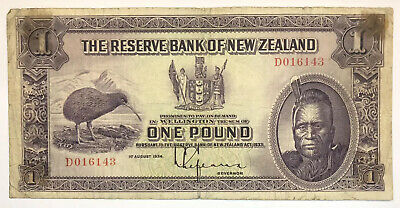 1934 Reserve Bank Of New Zealand One Pound Currency Note - Kiwi Bird - Vf