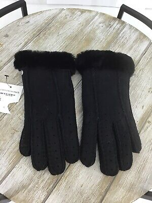 UGG Women's Classic Perforated Genuine Dyed Shearling Gloves In Black Size S