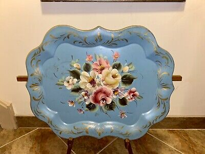 Antique Metal Hand Painted Blue Toleware Large Serving Tray Painting Flowers
