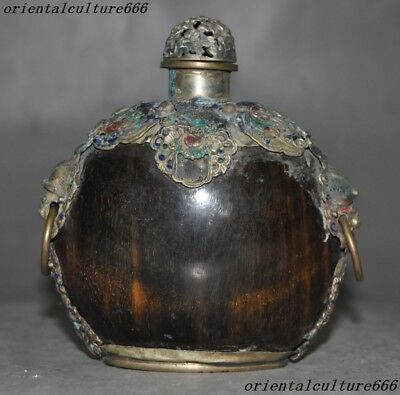 Collect Rare Chinese Old Ox horn inlay Cloisonne Foo Dog lion Beast snuff bottle
