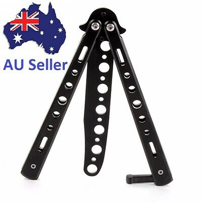 Balisong Black Folding Butterfly Trainer Knife Dull Blade Practice Tool