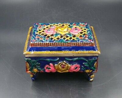 Handmade Carved  Statue Brass Cloisonne Coloured drawing Incense Burners XUanDe