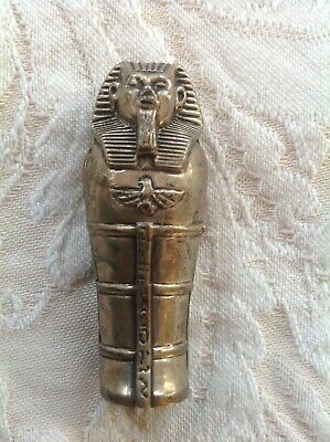 Vintage Silver (?)  Egyptian Mummy Sarcophagus Match Safe ~Match Holder ~Vesta